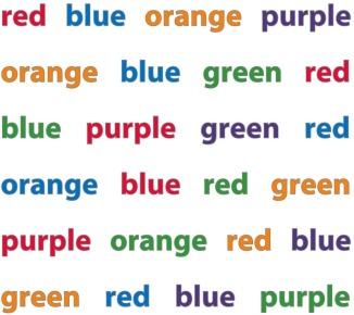 The Stroop test is used to evaluate executive function skills, especially attention and cognitive flexibility. Try it! Say the color, don't read the word.
